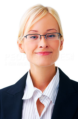 Buy stock photo Portrait of a young attractive business woman.