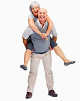 Happy mature man piggybacking his wife on a white background