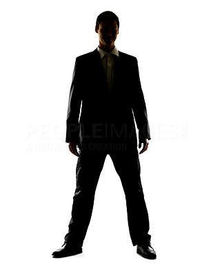 Buy stock photo Portrait of a happy young male executive standing against white background