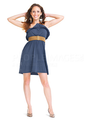 Buy stock photo Portrait of an elegant young lady standing against white background
