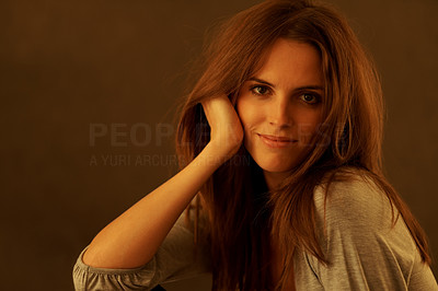 Buy stock photo Cute young woman posing against grunge background