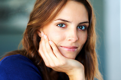 Buy stock photo Closeup portrait of relaxed young woman - Indoors