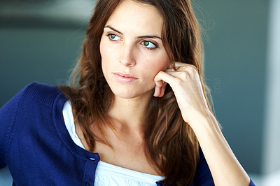 Buy stock photo Portrait of beautiful young lady daydreaming