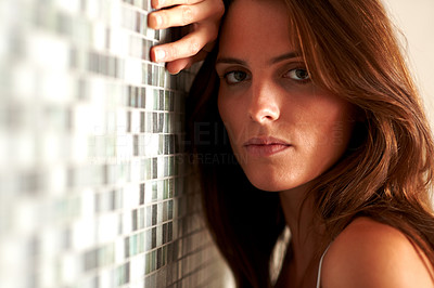 Buy stock photo Cute young woman looking upset