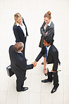 Full length image of successful business colleagues greeting eachother