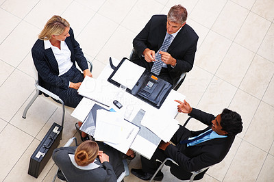 Top view of business people in a meeting