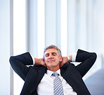 Senior business man relaxed with his hands behind his head