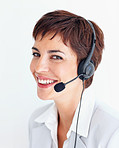 Attractive receptionist with a headset smiling over white background