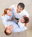 Huddle: Top view of colleagues standing together