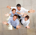 Top view of business colleagues showing a gesture