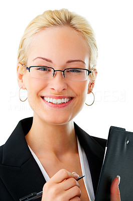 Buy stock photo Studio portrait of an attractive young businesswoman isolated on white