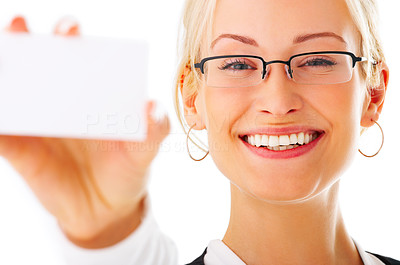 Buy stock photo Studio shot of a businesswoman holding up a  blank businesscard