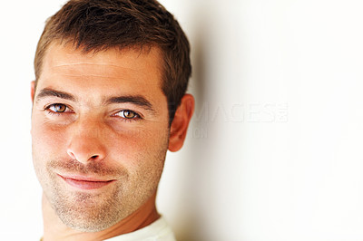 Closeup of an attractive guy isolated on white