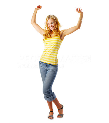 Buy stock photo Dancing girl dressed for summer