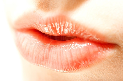 Buy stock photo Closeup of a womans soft glossy lips
