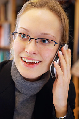 Buy stock photo Young businesswoman talking making a call
