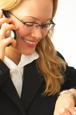 Buy stock photo Happy young businesswoman talking making a call