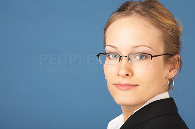Buy stock photo Business woman looking over her shoulder