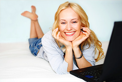 Buy stock photo Beautiful Woman in Bed With Laptop