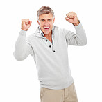 Happy mature man excited with his hands raised and isolated on a white background