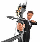 Courageous business woman aiming at target