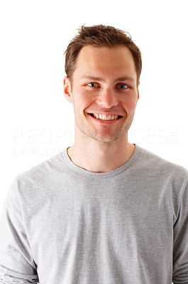 Buy stock photo Portrait of a Happy Young Man