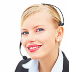Closeup portrait of cute receptionist with headphones