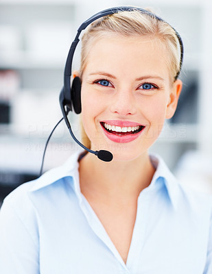 We are here to help - Smiling woman with headset
