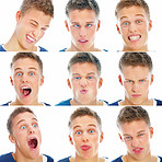 Montage of young man pulling faces