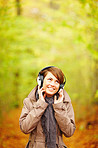 Young woman enjoying listening to music