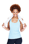 Fitness young woman with towel around her neck smiling