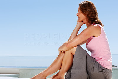 Buy stock photo Pretty young woman sitting on terrace - Outdoor
