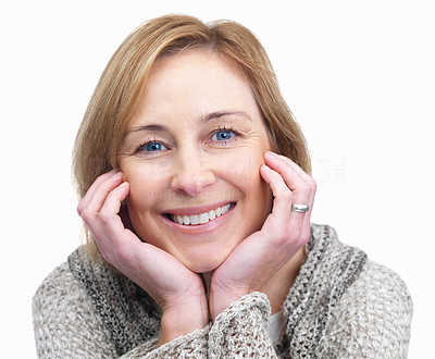 Buy stock photo Elegant mature woman with a sweet smile isolated o