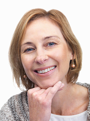 Buy stock photo Portrait of pretty middle aged woman smiling over