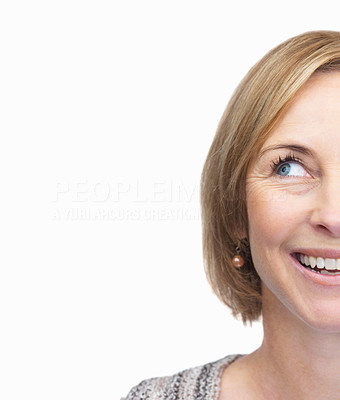 Buy stock photo Cut image of mature female face looking away over