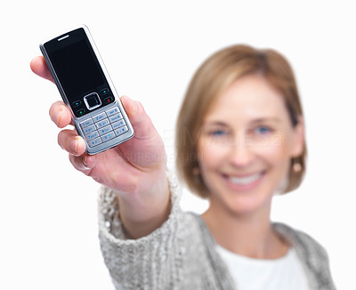 Buy stock photo Mature female showing her mobile and smiling - Whi