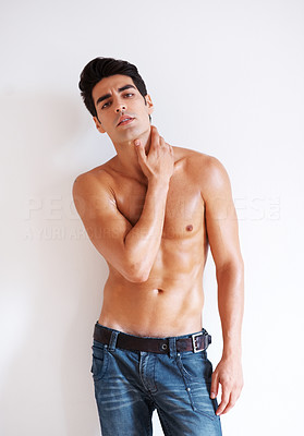 Buy stock photo Portrait of a shirtless young guy posing - Copyspace