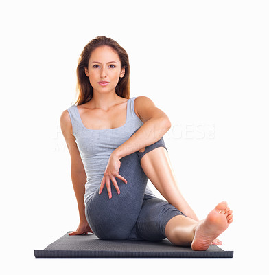 Buy stock photo Woman stretching on a yoga mat