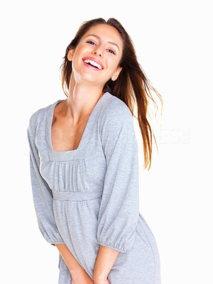 Buy stock photo Happy woman smiling and tilting her head