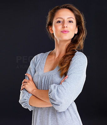 Buy stock photo Confident woman standing with arms crossed