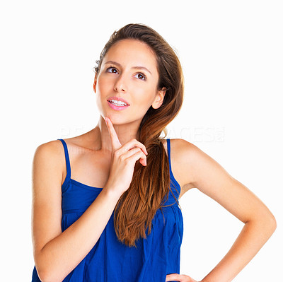 Buy stock photo Woman with hand on hip and finger on chin