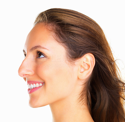 Buy stock photo Side view of woman looking up