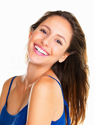 Buy stock photo Head shot of woman smiling with head tilted