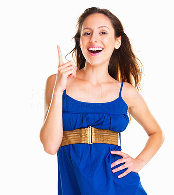 Buy stock photo Woman pointing up and smiling