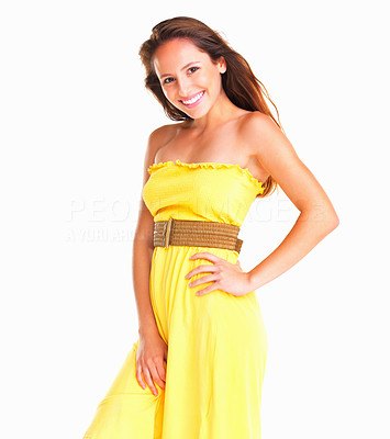 Buy stock photo Woman smiling with hand on thigh