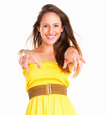 Buy stock photo Woman pointing at camera