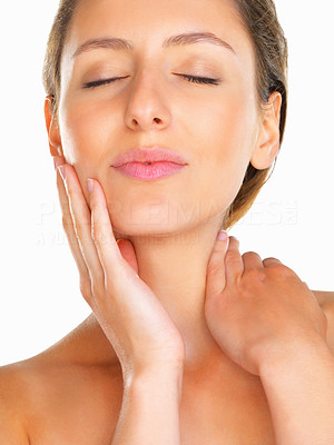 Buy stock photo Woman relaxed with eyes closed and hand on face