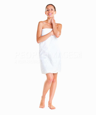 Buy stock photo Woman standing wrapped in a towel