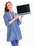 Playful woman presenting with a laptop