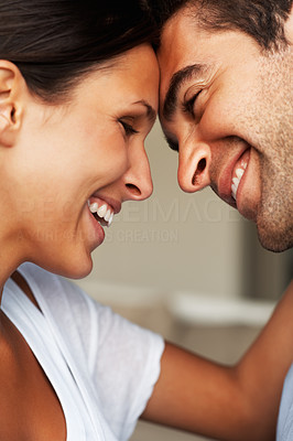 Buy stock photo Affectionate attractive couple smiling